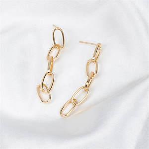 Link-Chain Drop-Earrings Fashion Jewelry Dangle Women New-Arrival Punk Color-Tassel Gold