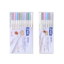 10 kolorów metaliczny zestaw pisaków DIY Scrapbooking rzemiosło tworzenie kartek szczotka okrągła głowa ołówek do makijażu do rysowania pastelint-tip długopisy cheap K0049 Art marker Luźne Art Supplies