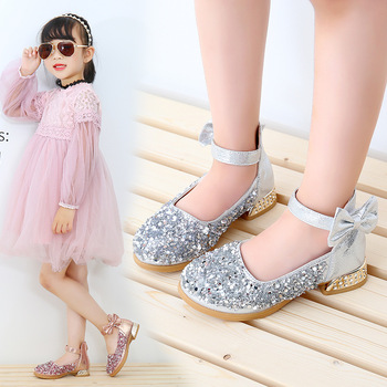 2020 Childrens Shoes Kids high heeled Leather shoes baby Girls Shoes Rhinestone princess Shoes For Dance Wedding Party Shoes цена 2017