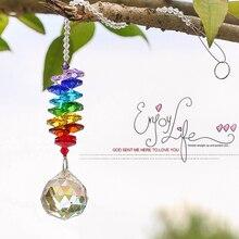 Хрустальная люстра H & D в стиле чакры, хрустальный шар, призмы, подвеска, Радужное украшение на окно, свадебное украшение для дома