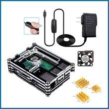 Робот с чехол Пи малины 3Б 9 слой акриловый чехол коробка вентилятор и теплоотвод для 3 модель B+ RPI105
