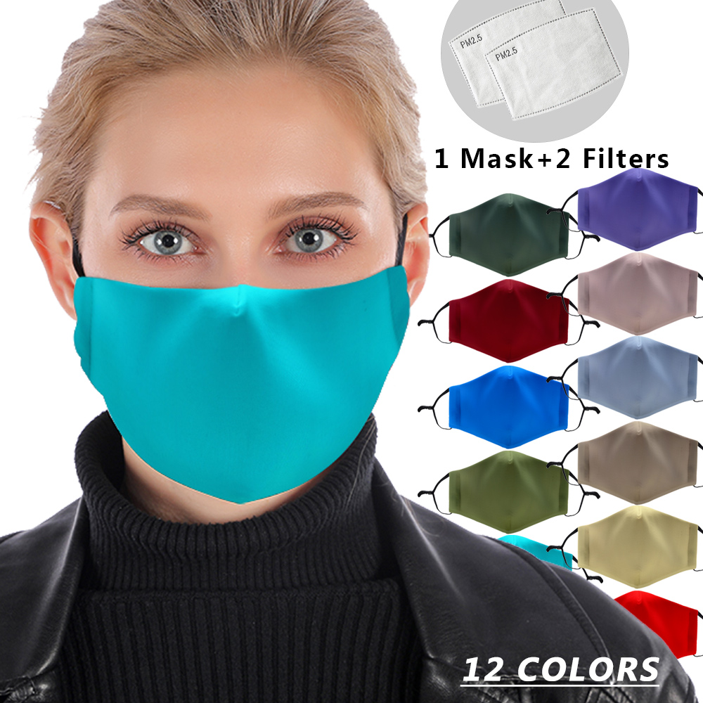 12 Pure Colors Reusable Mouth Mask White Blue Washable Protective PM2.5 Filter Mask Anti Dust Face Mask Windproof Anti Flu Mask