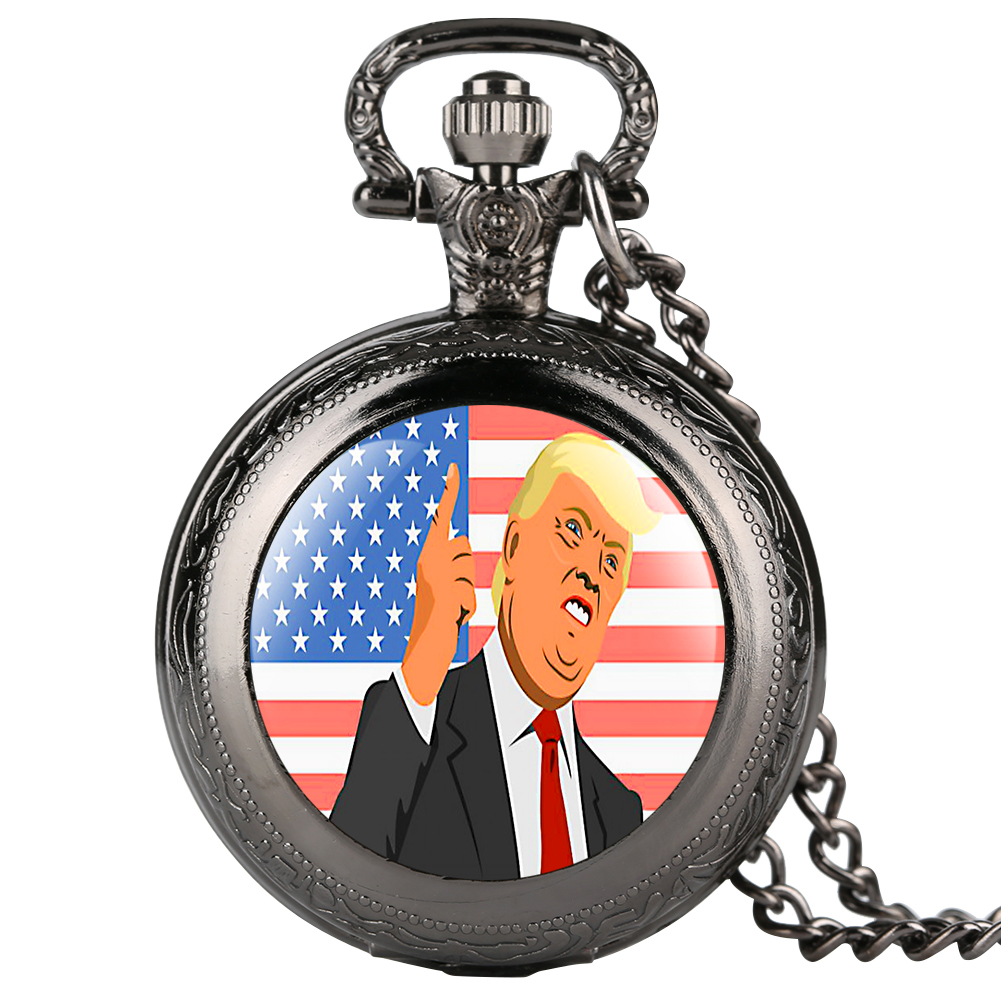 Superior Quartz Trump President Pattern Pocket Watch Men Practical Black Slim Chain Pendant Women Necklace Relogio De Bolso