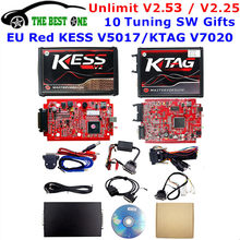 Online V2.53 EU Red Kess V5.017 OBD2 Manager Tuning Kit Ktag V7.020 4 LED Kess V2 5.017 BDM Bingkai K-TAG v2.25 ECU Programmer(China)