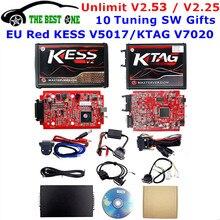 وحدة التحكم في المحرك Red Kess, وحدة التحكم في المحرك V2.53، مقبس متوافق مع الموجود في دول الاتحاد الأوروبي Red Kess V5.017 OBD2 KTAG V7.020 4 LED Kess V2 5.017 BDM الإطار K TAG مبرمج وحدة التحكم في المحرك V2.25