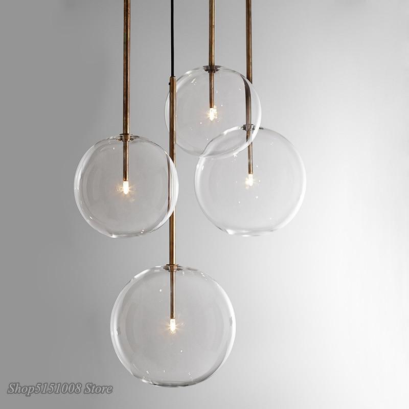 Скандинавские прозрачные стеклянные подвесные светильники, шар из хромированного стекла, Подвесная лампа для столовой, кухни, подвесной св...