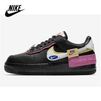 Nike Air Force 1 Shadow Women Shoes Original Nike Air Force 1 Shadow Removable Patches Black Pink Style Women's Sneakers