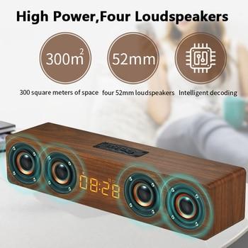 Powerful Wooden TV Soundbar 20W Portable Bluetooth Speaker Wireless Column Home Theater 4D Stereo Subwoofer caixa de som TF FM
