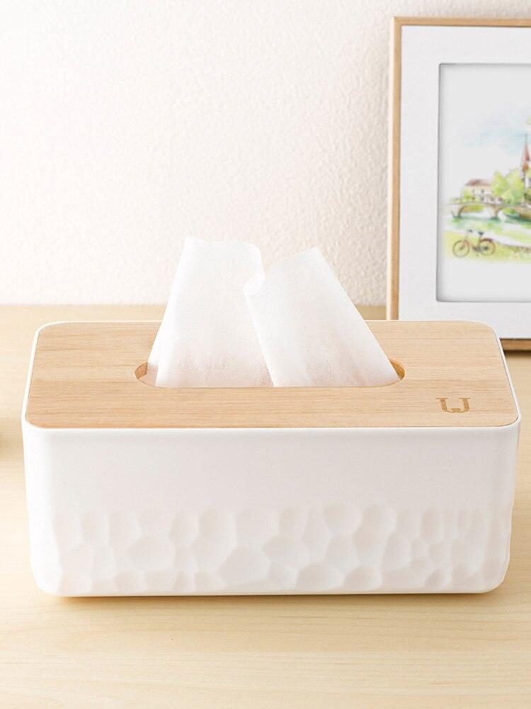 Bamboo Desk Organizer Tissue Box Cover