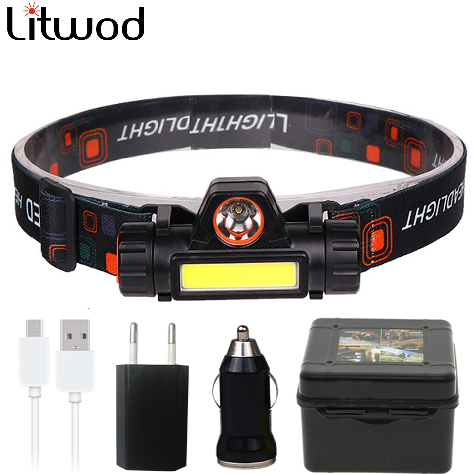 2500LM Portable Mini Powerful LED Headlamp XPE+COB USB Rechargeable Headlight Built-in Battery Waterproof Head Torch Head Lamp