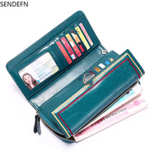 Sendfen 2020 New Leather Large Capacity Wallet Retro Oil Wax Leather Wa