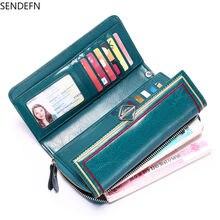 Sendfen 2020 Новый кожаный вместительный кошелек ретро масляный