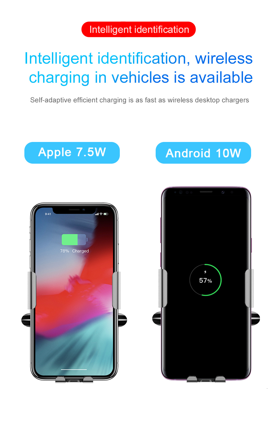 Baseus Qi Car Wireless Charger For iPhone Xs Max Xr X Samsung S10 S9 Intelligent Infrared Fast Wirless Charging Car Phone Holder 7