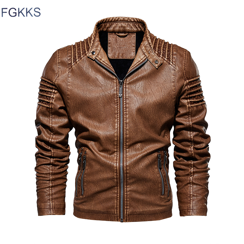 FGKKS Men's Leather Jackets Overcoat Autumn Winter Male Fashion Motorcycle Faux Jacket Coat Men Casual High Quality PU Jackets