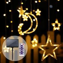 luces solares para exterior Luces solares guirnalda de hadas de jardín 123LED luces de cadena con Control remoto luz Solar Luna estrella lámpara impermeable Navidad