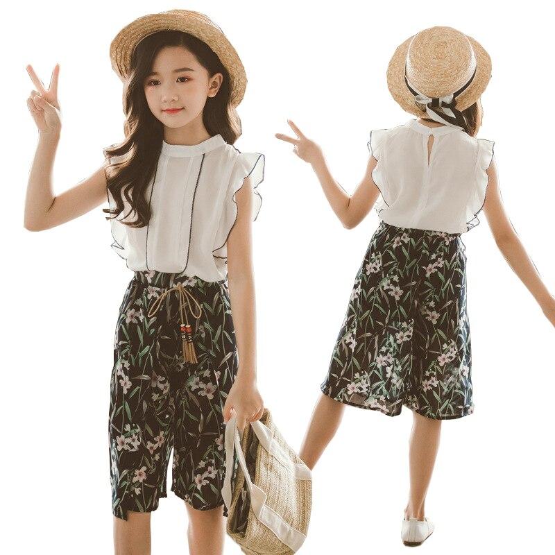 Summer Teen Girls Clothing Sets Kids T-shirt +Wide Leg Pants Suits Children Short Sleeve Child Girl Clothes 7 9 10 12 13 14 Year