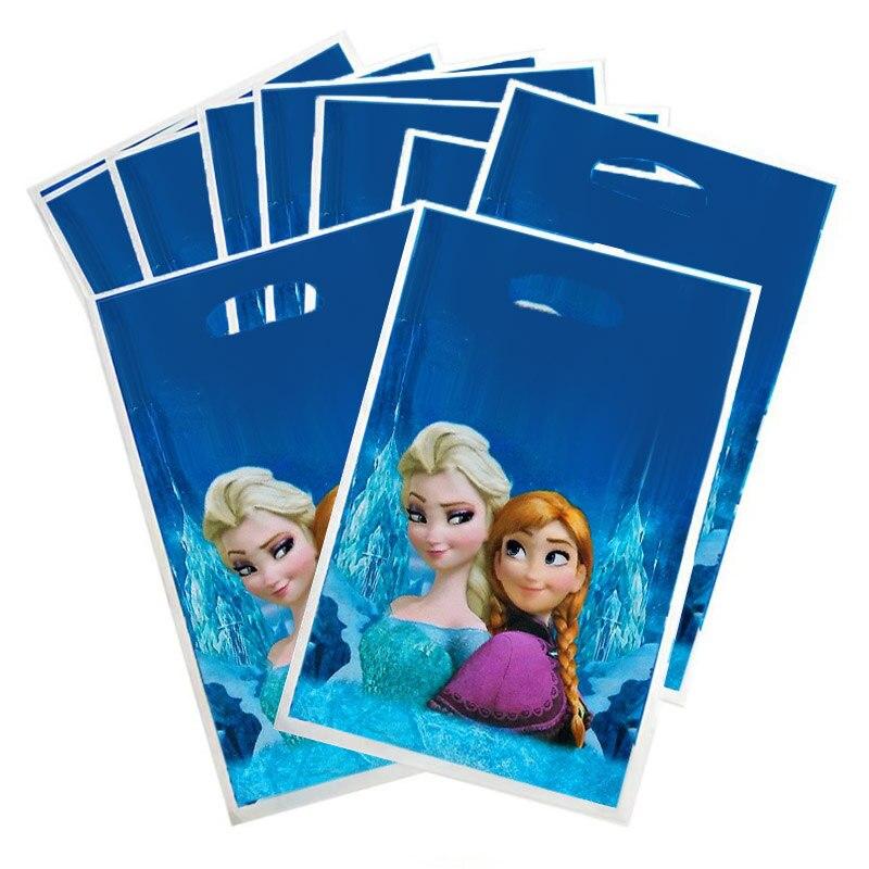 10pc/set Disney Frozen Princess Anna Elsa Cartoon Birthday Party Supplie Baby Favor Decor Event Gift Bag Birthday Party Supplie