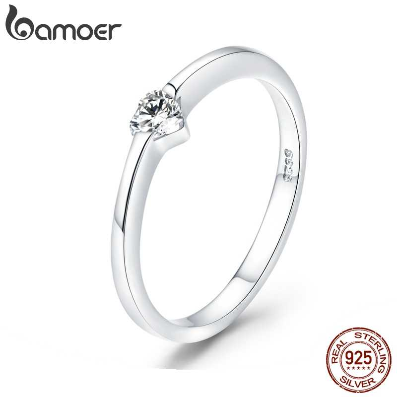 Bamoer 925 prata esterlina luminoso anel de dedo simples coração anéis de casamento para casamento feminino noivado jóias scr450