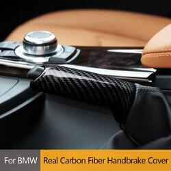 Araba gerçek karbon Fiber el freni seti kapak Sticker BMW için 1 2 3 4 serisi E46 E90 E92 E60 E39 f30 F34 F10 F20 aksesuarları