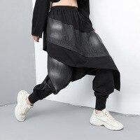 2019 Autumn Joggers Women Patchwork Denim Harem Pants Personality Streetwear Fake Two Piece Casual Long Trousers TA196030
