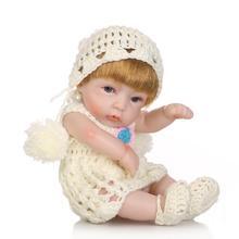 bebe reborn doll 26cm silicone Adorable baby dolls Hand-drawn simulation vinyl Educational props kids Gift Bath toy