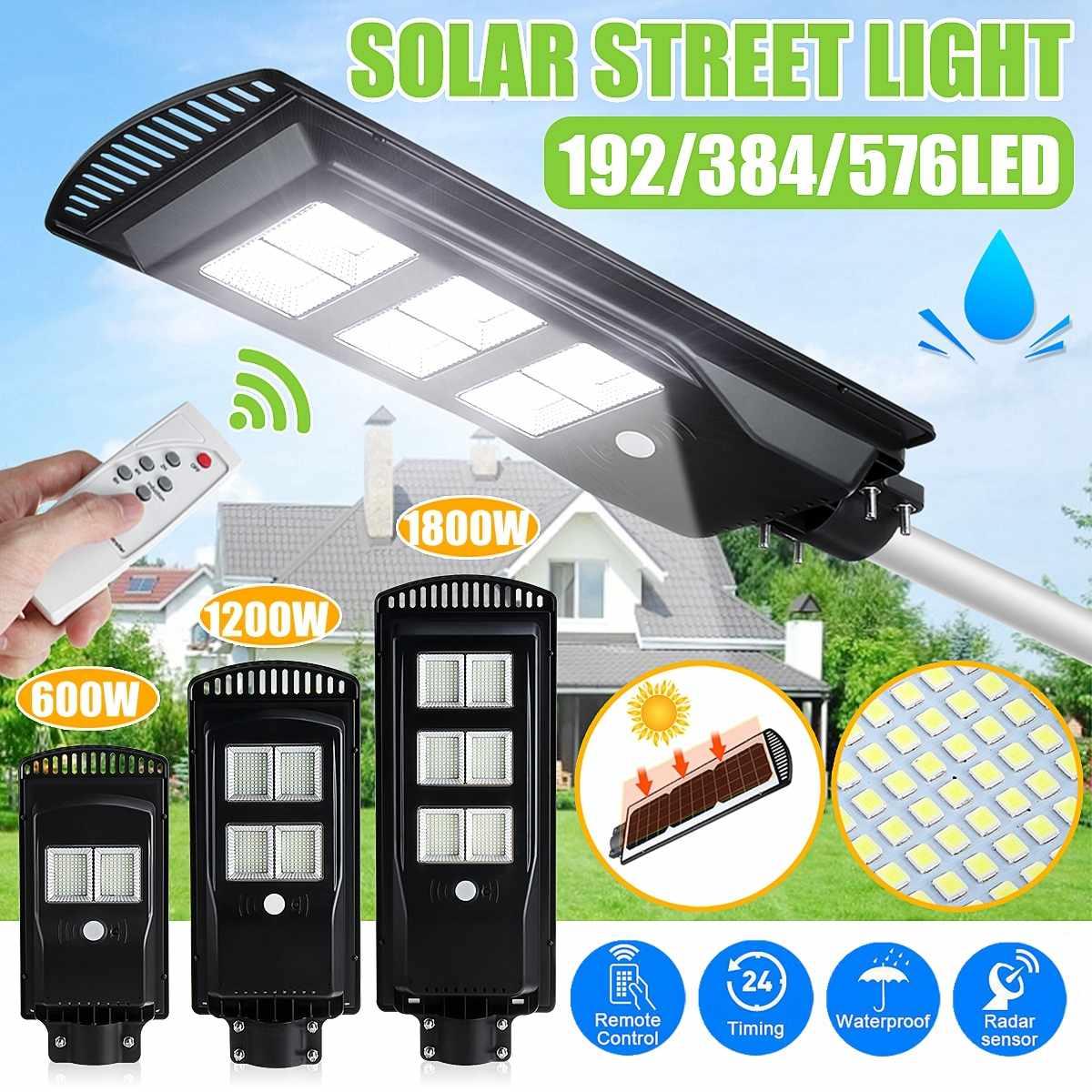 Поликристаллическая солнечная панель, лампа 1800 Вт, светодиодов, уличные лампы, IP65, уличный светильник с датчиком, садовая настенная лампа с ...