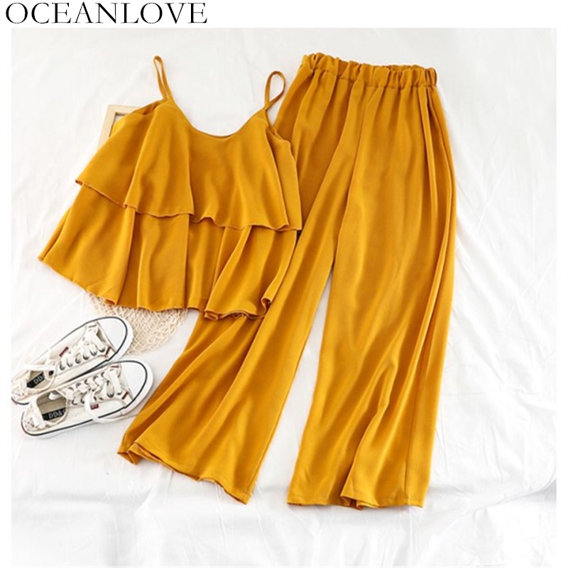 OCEANLOVE  Beach Style Solid Women Two Piece Outfits Ruffles Short Camis Elastic High Waist Ankle-length Pants Chiffon Set 11490