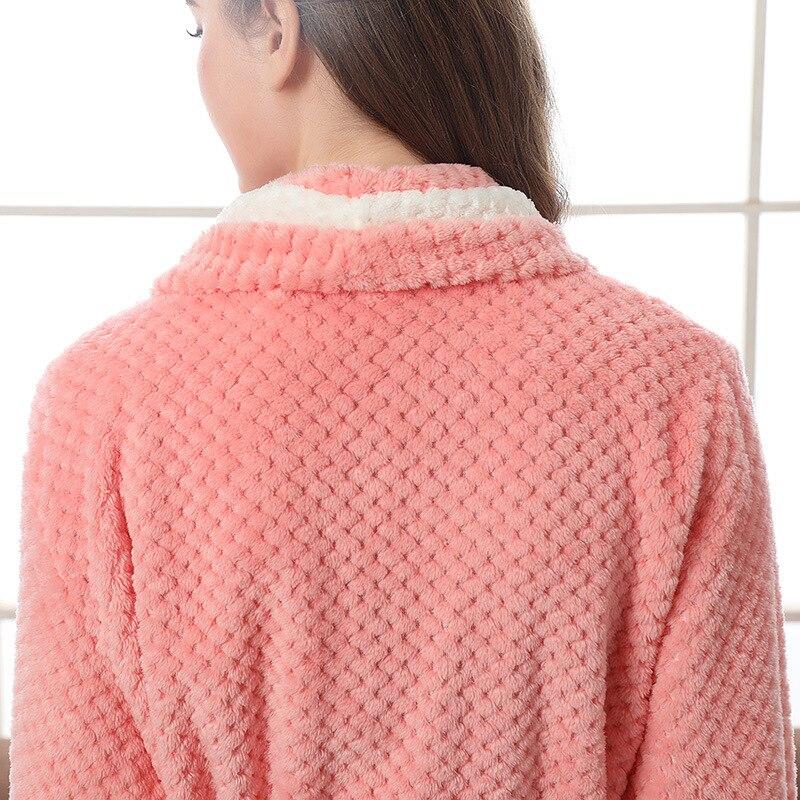 Image 4 - Couple Pajamas 2019 Winter Bathrobe Fashion Long Thick Flannel Couple Bathrobe Loose Plus Size Pajamas Home Clothes Sleepwear