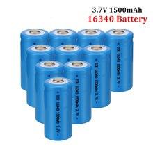 20 pces 1500mah recarregável 3.7v li-ion 16340 baterias cr123a bateria led lanterna viagem carregador de parede para 16340 cr123a