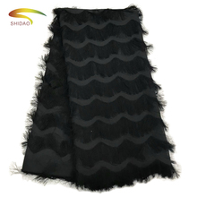 Shidao Top Sale French African Net Silk Nigerian Tassel Lace Fabrics White/Black For Wedding Dress