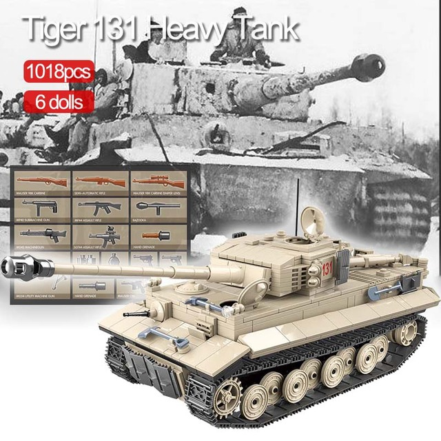 1018 pièces militaire tigre 131 réservoir blocs de construction compatibles WW2 armes soldats armée briques ensemble enfants enfants jouets enfants cadeaux