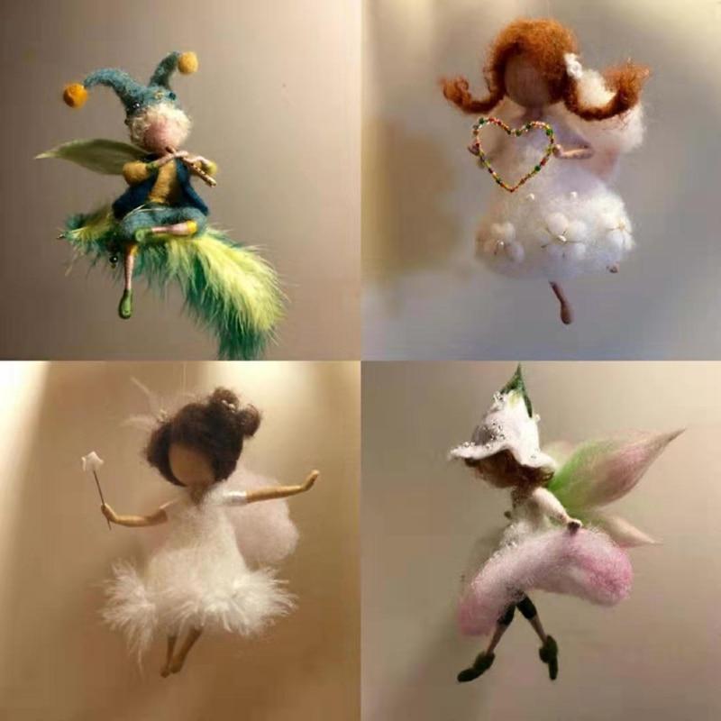 New Poke Wool Felt Handmade DIY Doll Angel Forest Fairy Wool Material Kit Plush Toys For Children Keychain Women Bag Decoration