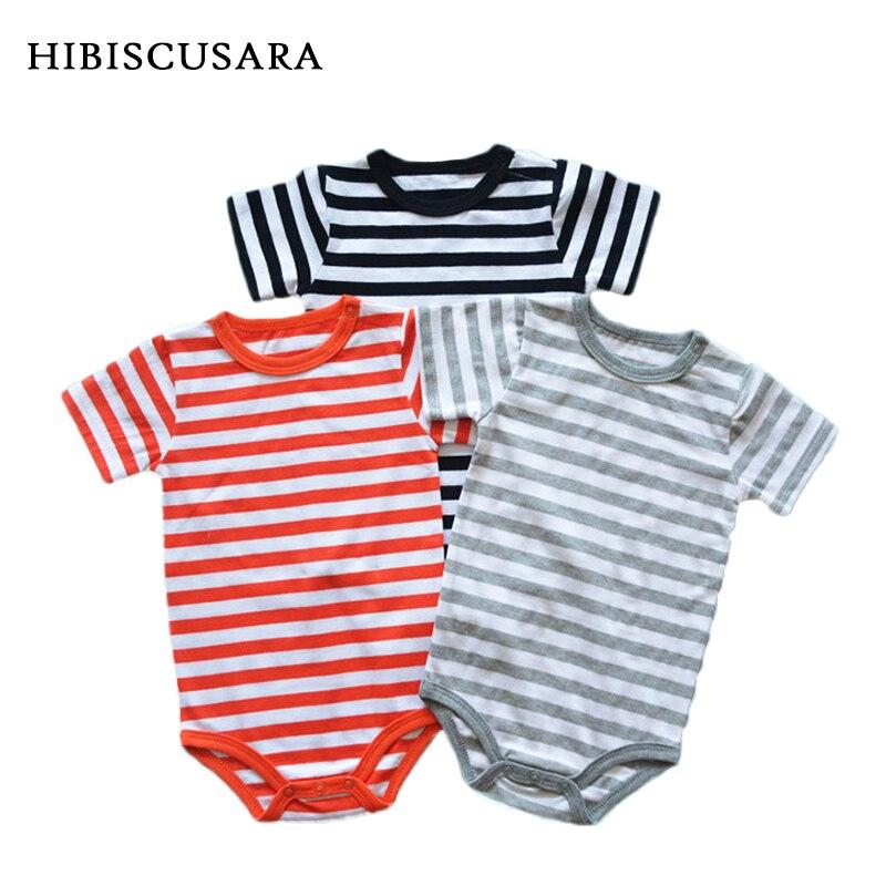 Newborn Infant Kids Baby Girls Boys Short Sleeve Stripe Bodysuit Romper Jumpsuit