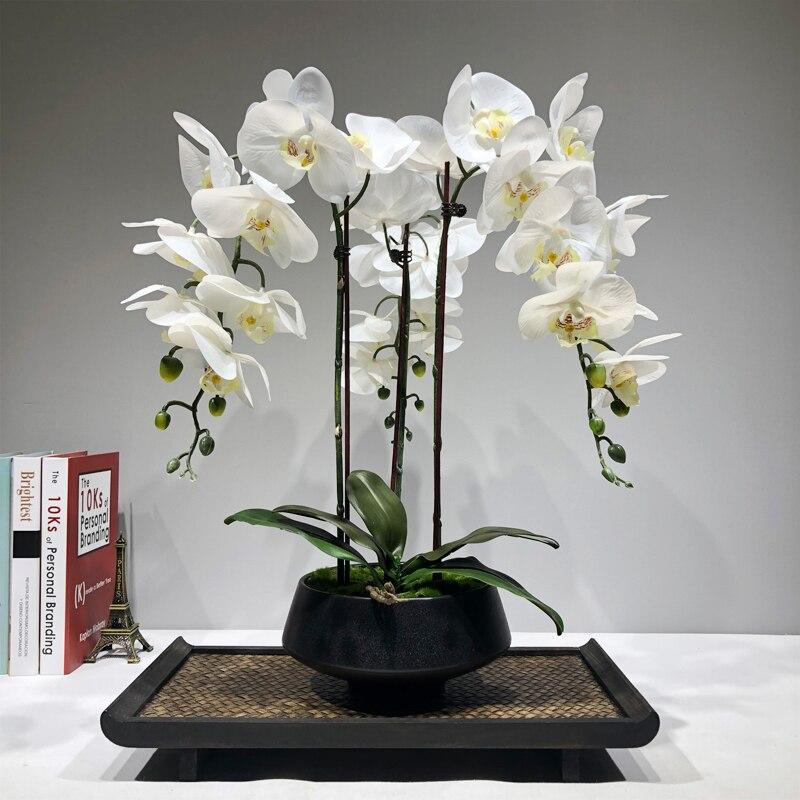 Grande arranjo de flor orquídea artificial plutônio real toque mão sentindo mesa piso decoração casa alta qualidade buquê nenhum vaso