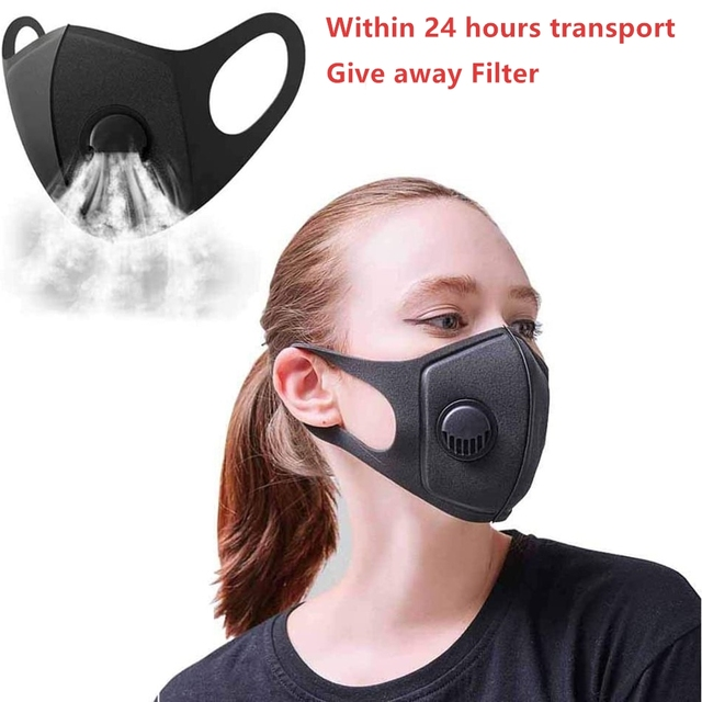 Black Mask Mouth Dust Pm2.5 Protection Flu Respirator Face Filter Anti Pollution Carbon Filter Allergy Mask with Breathing Valve