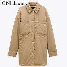 Chaqueta cálida de algodón para mujer, abrigo Vintage de color caqui, ropa larga, abrigos sólidos de gran tamaño, Parkas sueltas, Top, otoño e invierno, novedad de 2020
