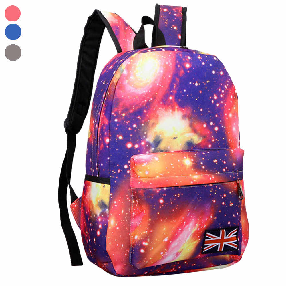 45# Galaxy Pattern Unisex Travel Backpack Canvas Leisure Bags School Bag Mochilas Escolares mochila infantil menina Backpack