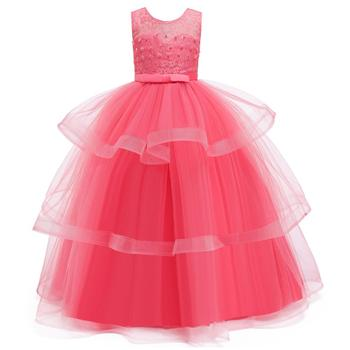4-14Y Lace Teenagers Kids Girls Wedding Long Dress elegant Princess Party Pageant Christmas Formal Sleeveless Dress Clothes 5