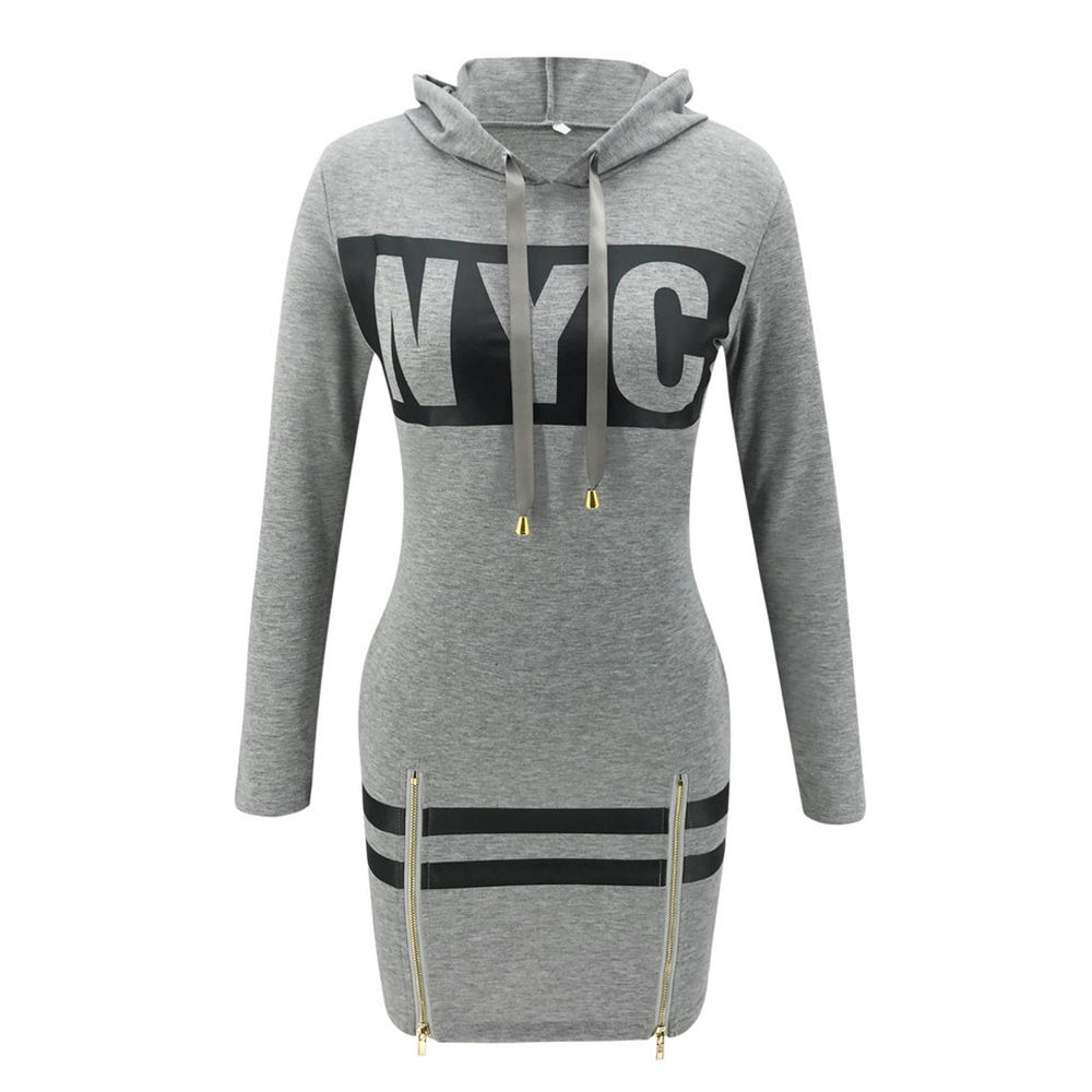 Hfef5931023944beeb5b83bc803275eadQ - Autumn Hoodies Dress Women Letter Print Hooded Dresses Lady Casual Zipper Drawstring Stripe Sweatshirt Dress ropa mujer D30