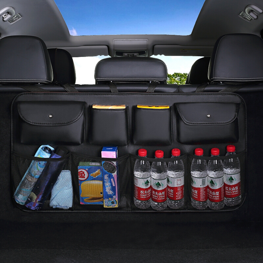 PU Leather Universal Auto Car Organizer Trunk Rear Back Seat Storage Bag Mesh Net Pocket Stowing Tidying Interior Car Styling image