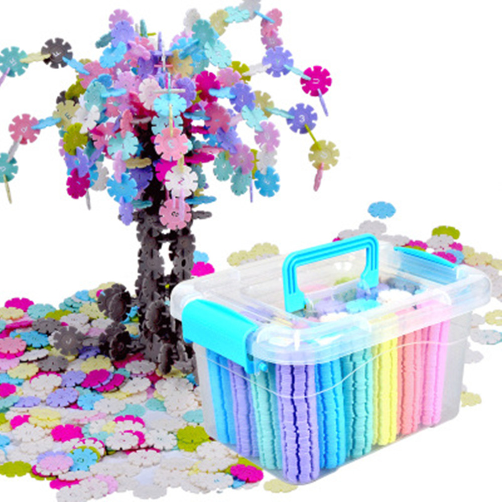 100-1200 Pcs 3D Puzzle Jigsaw Plastic Snowflake Building Building Model Puzzle Educational Intelligence Toys For Kids Gift
