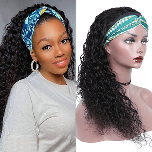 Human Hair Wigs Headband Wig For Black Women 24 Inch Water Wave Brazilian Machine Made Remy Natural Color Hair 150% Density