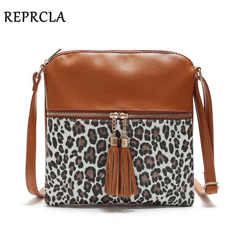 REPRCLA Vintage Leopard Women Bags Tassel Flap Crossbody Shoulder Bag Ladies Leather Handbags Female Messenger Bags Bolsa