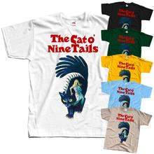 O gato o nove caudas il gatto um código nove v3 t camisa preta todos os tamanhos s 3xl