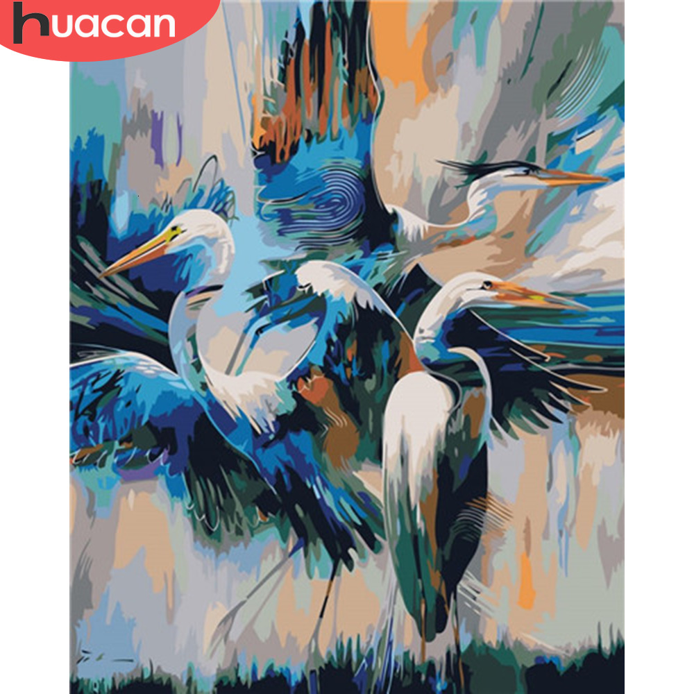 HUACAN Oil Painting Bird Animals HandPainted Kits Drawing Canvas Pictures By Numbers Crane Home Decoration DIY Gift