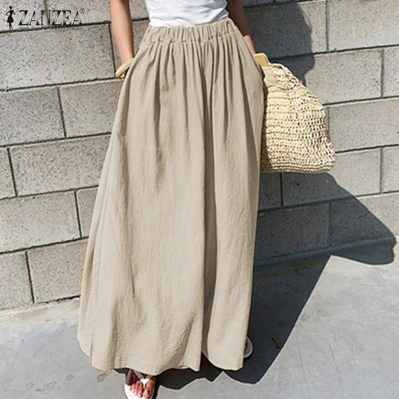 ZANZEA Women   Wide     Leg     Pants   2020 Fashion Office Lady Work Long Trousers Cotton Pantaloes Femme Loose Pockets Streetwear Oversize