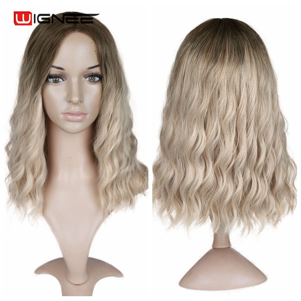 "Image 3 - Wignee Ombre Black To Blond Wig Side Part 14"" Synthetic Wigs for Women  Wavy  Cosplay Daily Heat Resistant Natural Short HairSynthetic None-Lace  Wigs   -"