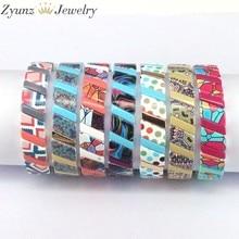 5 pçs, esmaltado elástico pulseira tila telha arco-íris pulseiras artesanal multicolorido frisado jóias empilhável telha pulseira manguito feminino