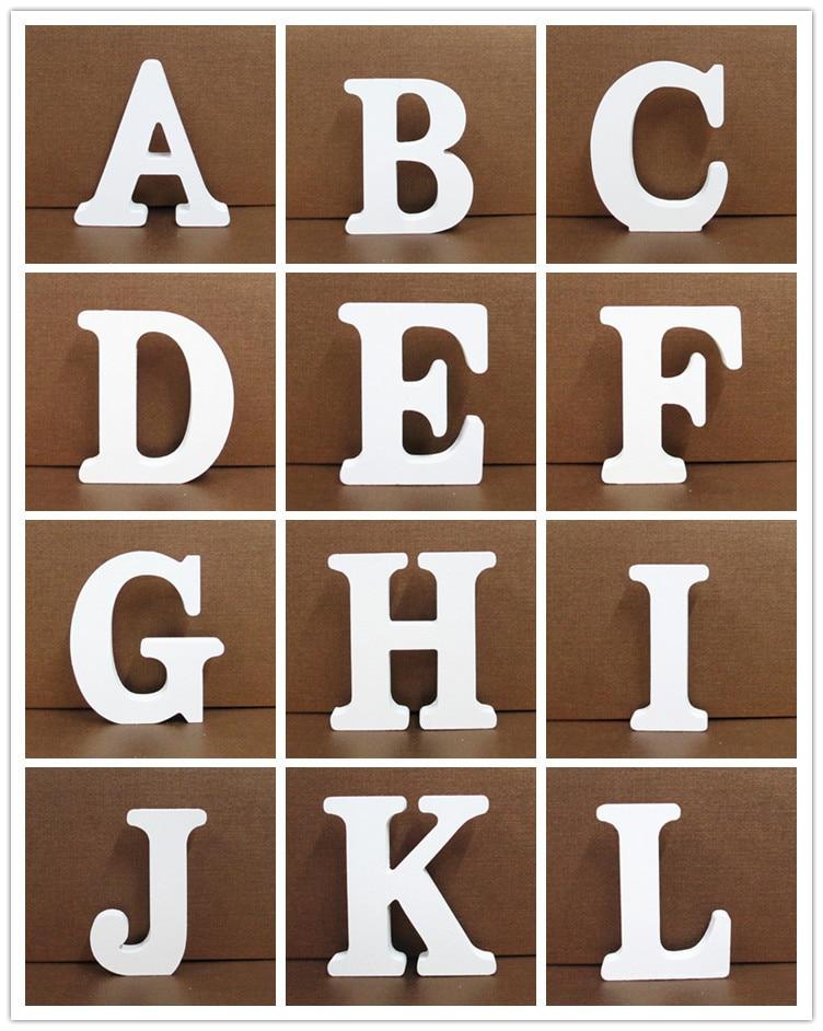 1pc 10CMX10CM Home Decor White Wooden Letter English Alphabet DIY wood Art Craft Free Standing Heart Wedding Decoration