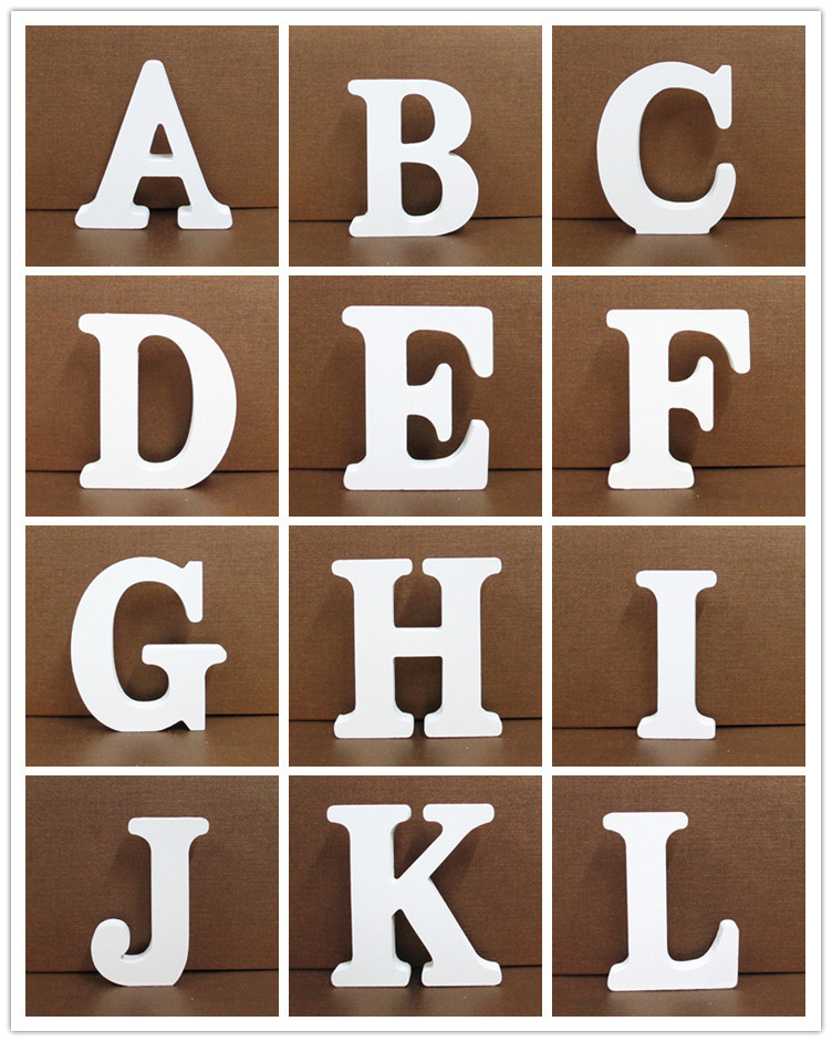 1pc White Wooden Letters English Alphabet Word Personalized Design Art Craft Free Standing Heart Shape Wedding Home Decor